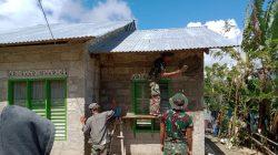 Satgas Yonif 742/SWY Lanjutkan Semenisasi Rumah RTLH di Lakmars
