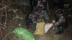 Satgas Pamtas Yonif 742/SWY Amankan 3 Karung Kayu Cendana Dari Timor Leste